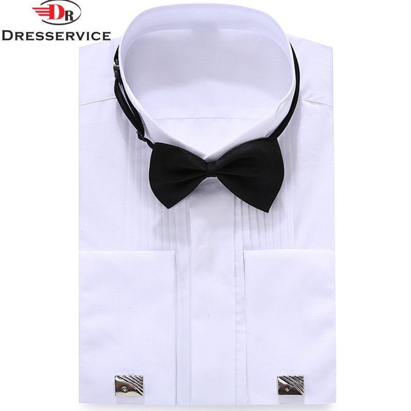 DRESSERVICE 2017 Men's French buttoned evening dress High-end long-sleeved shirt Solid color Wedding party Casual shirt Fashion