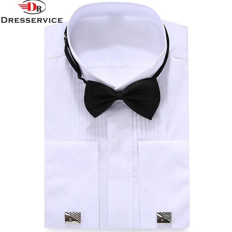 Francés abotonado DRESSERVICE 2017 de Los Hombres de gama Alta vestido de noche del banquete de Boda de color Sólido camisa de manga larga Ocasional camisa de La Manera