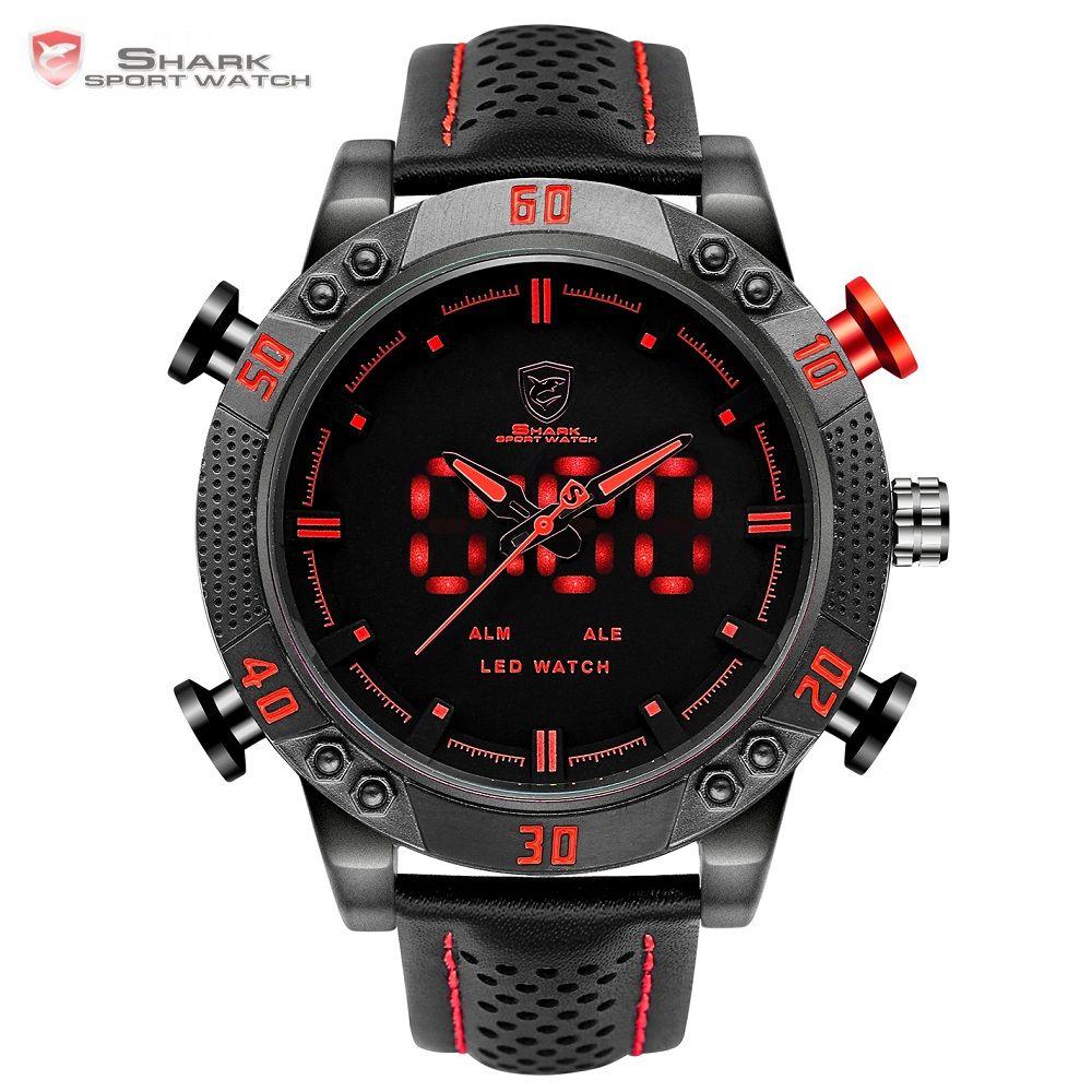 Kitefin Shark Sport Watch Brand Mens Military Quartz Red LED Hour Analog Digital Date Alarm Leather Wrist Watches Relogio /SH261