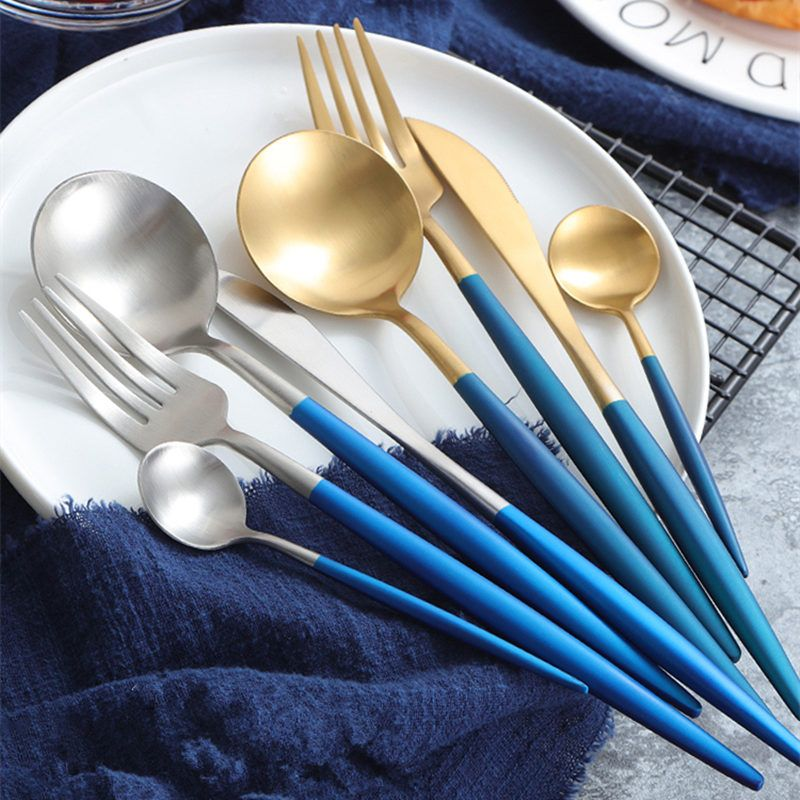 24pcs KuBac Hommi Blue Gold Top Quality Stainless Steel Steak Knife Fork Party Cutlery Set Gold Silver Drop Shipping