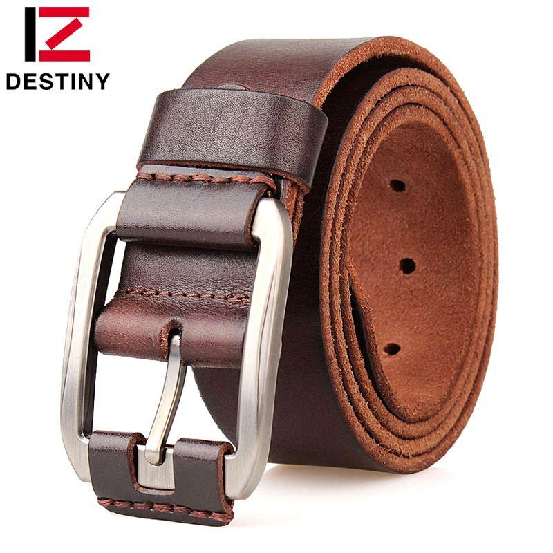 DESTINY Men Belts Male Genuine Leather Strap Luxury Designer Fivela Cowboy Ceinture <font><b>Homme</b></font> High Quality Jeans Belt Metal Buckle
