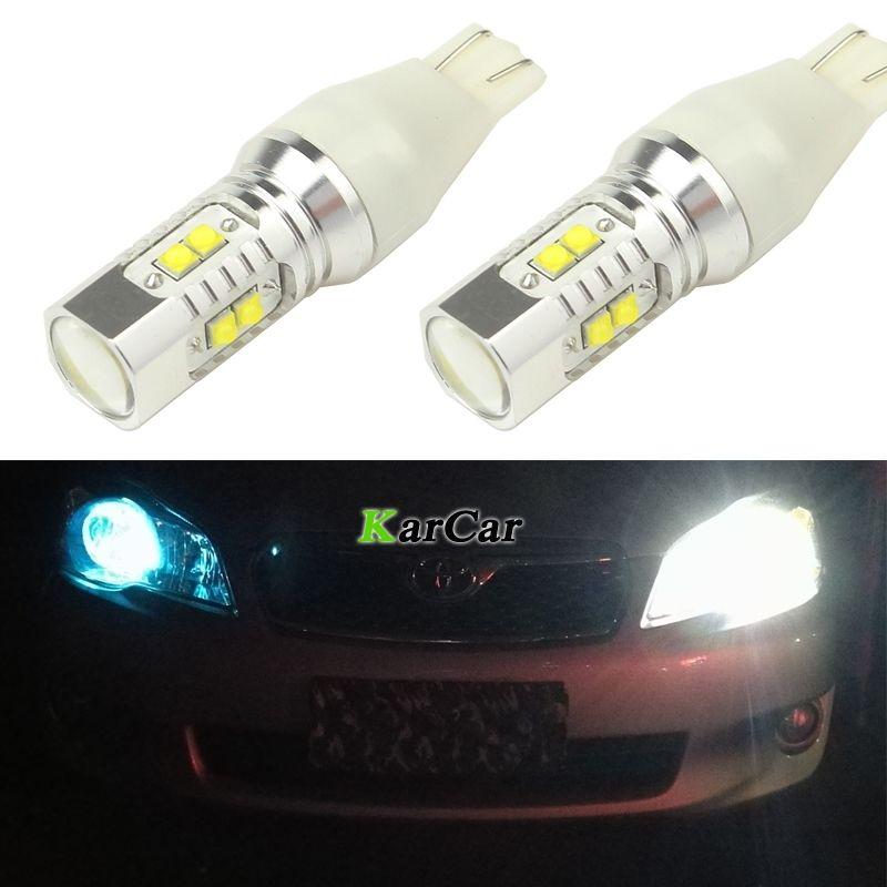 2 pièces LED lumières de voiture T15 W16W Canbus Cob XBD 50W 650LM superbe blanc inverse 921 ampoules arrière queue 912 feux d'arrêt pour Ford Toyota
