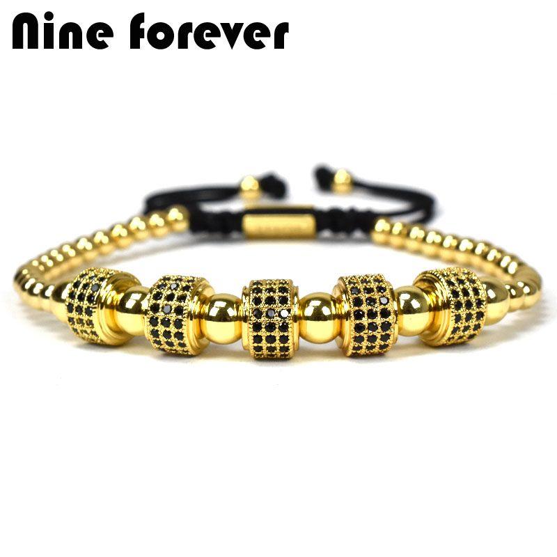 Nine forever jewelry crown charms men Bracelet Macrame beads Bracelets for women pulseira masculina pulseira feminina