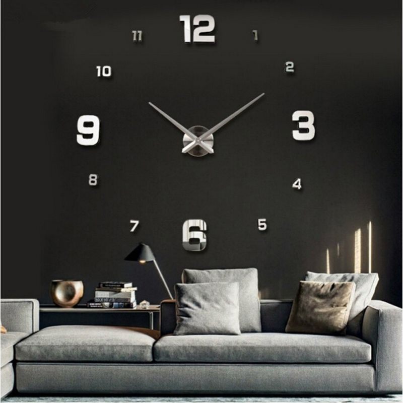 2016 Vente Nouveau Mur Horloge Horloges Montre Autocollants Diy 3d Acrylique Miroir Décoration Quartz Balcon/cour Aiguille europe chaude