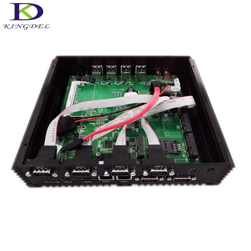 Fanless Mini Industrial PC with Broadwell Core i7 5550U CPU, HD Graphics 6000, 8*USB,6*COM,X86 Mini Computer Dual NIC Dual HDMI