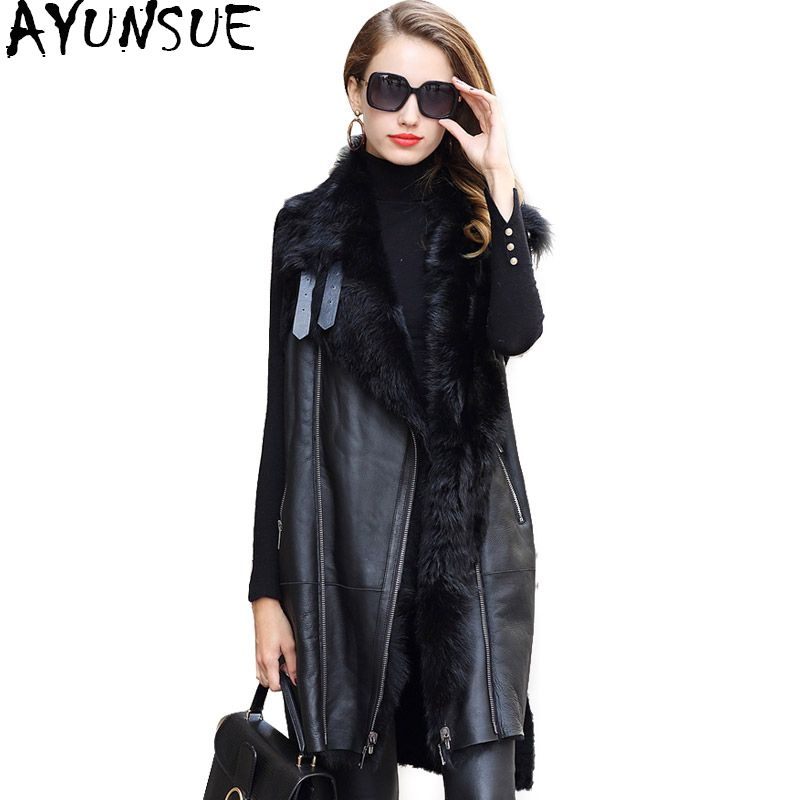 AYUNSUE Long Sheepskin Genuine Leather Vest Jacket Real Fur Coat Women Sheep Fur Lining Jackets Winter Warm Coats Female WYQ1914