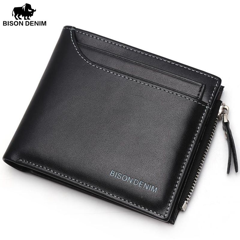 BISON DENIMLeather Wallet Male Bifold Slim Wallet Case Card Holder Men Wallet with Coin Purse Pockets Zipper Wallets black Men