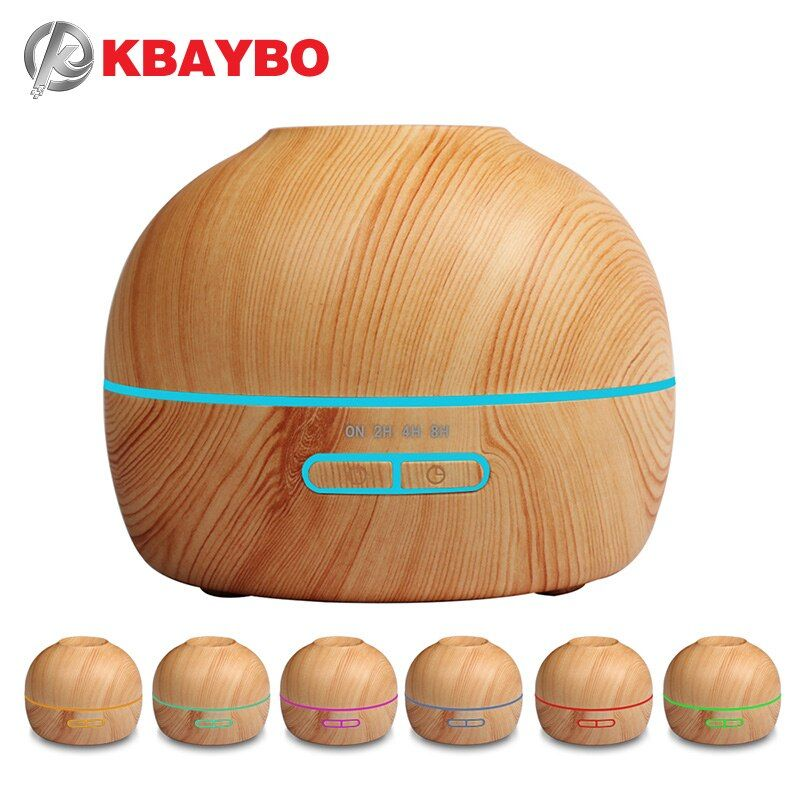 Aroma Essential Oil Diffuser Ultrasonic Cool Mist Humidifier Wood Grain With 7 Color LED Lights Aromatherapy Mist Maker for Home