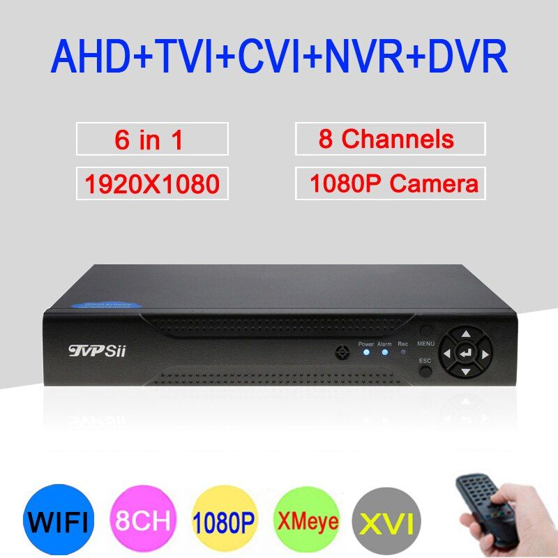Hi3521A XMeye 8 Channel 8CH <font><b>1080P</b></font> Full HD Surveillance Video Recorder 6 in 1 Hybrid Wifi Onvif NVR TVI CVI AHD DVR Free Shipping