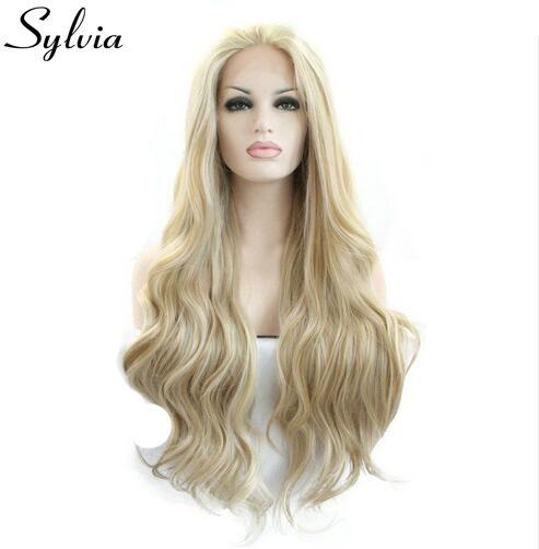 Sylvia Blonde/белый смешанный цвет свободные волна синтетические кружева перед парики натуральная блондинка устойчивы волокна волос для белой ж...