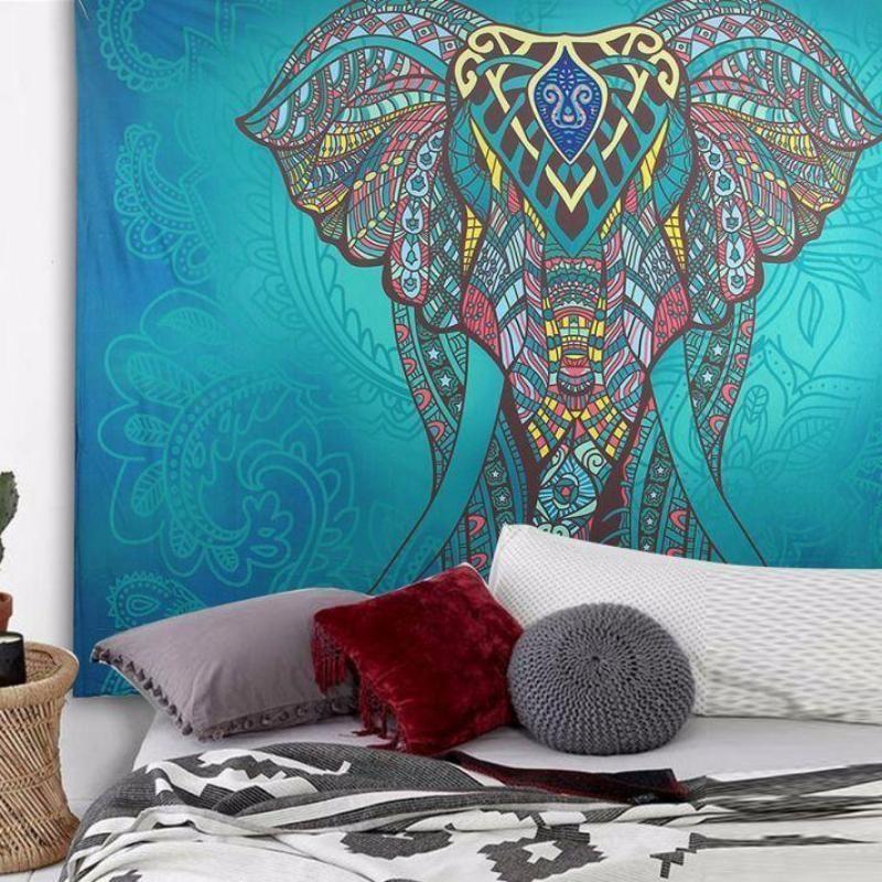Bohème Mandala Éléphant Tapisserie Tenture de Sable Plage Pique-Nique Carpette Couverture Camping Tente Voyage de Couchage Pad