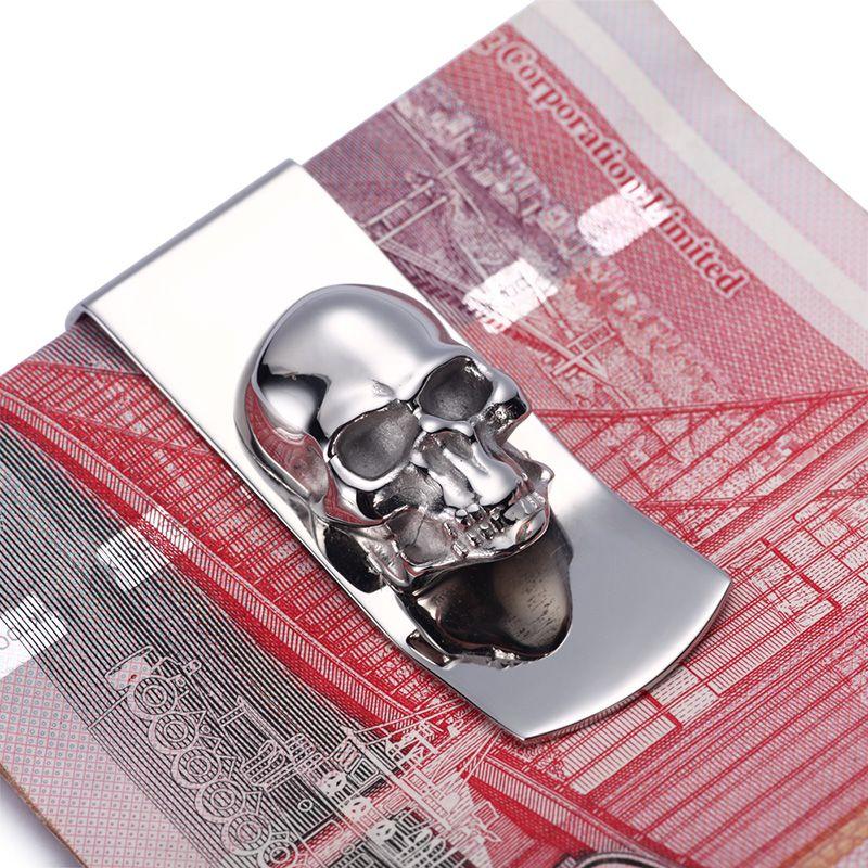 Moderne-tout nouveau 2016 crâne Designs hommes argent pince à billets mince poche sac à main portefeuille carte organisateur hommes femmes portefeuille