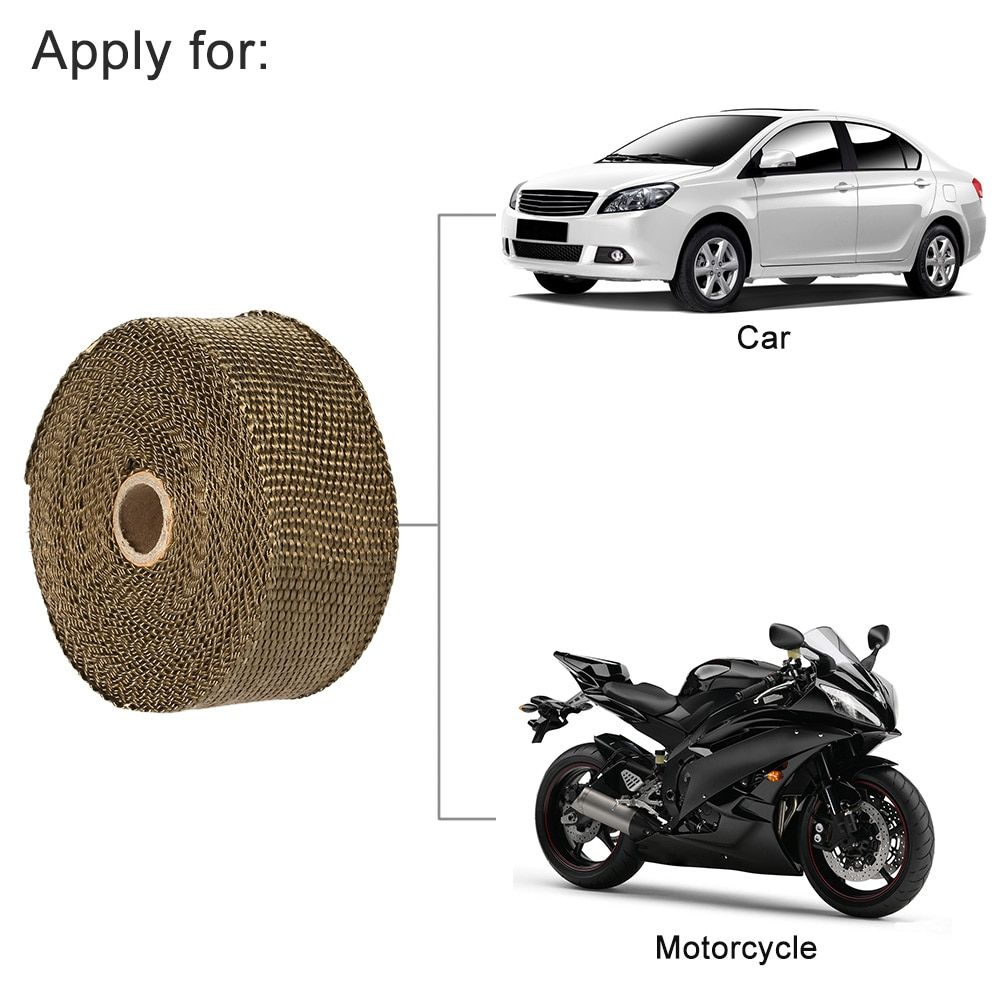 KKmoon Exhaust Pipe Header Heat Wrap Resistant Downpipe 10 Stainless Steel Ties 5mx5cm for Car Motorcycle Accessories & Parts