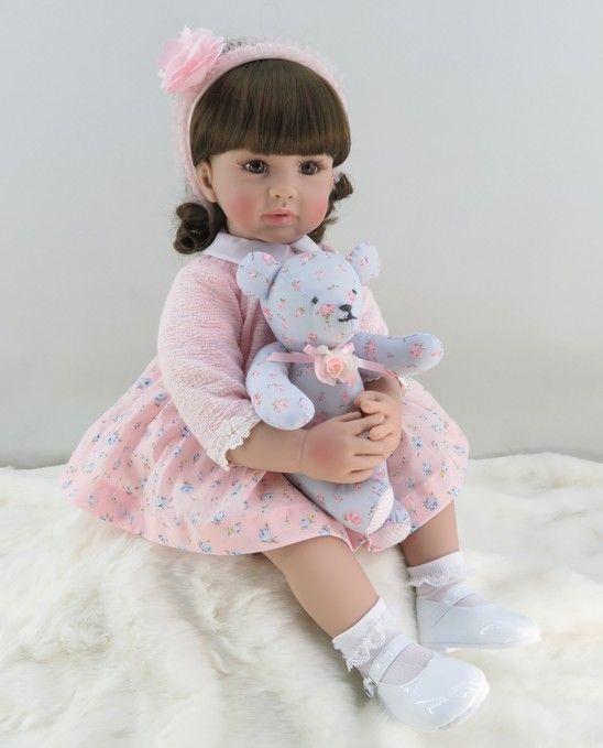 60 cm silicona reborn Girl muñeca Juguetes vinilo Rosa princesa Toddler bebés Muñecas con oso regalo de cumpleaños de la edición limitada muñeca