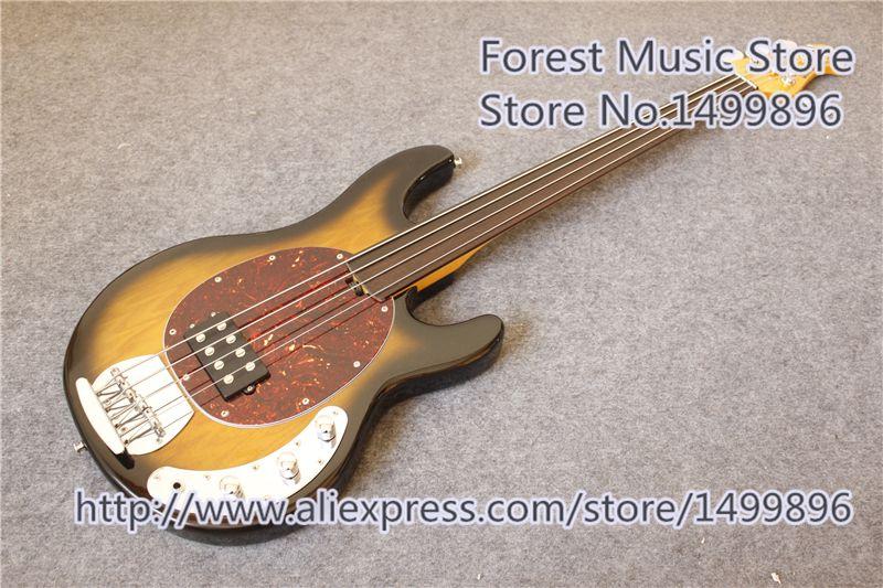 China Vintage Sunburst Finish Fretless Music Man Electric Bass Guitar & 4 String Bass Guitar Free Shipping