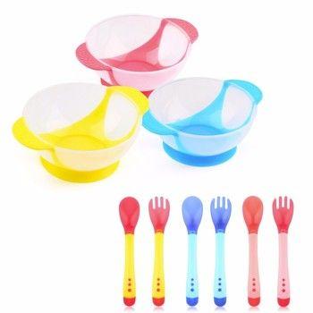 Горячая Распродажа Детская Ложка чаша обучающая посуда с присоской помощь еда чаша температура зондирования ложка детская посуда