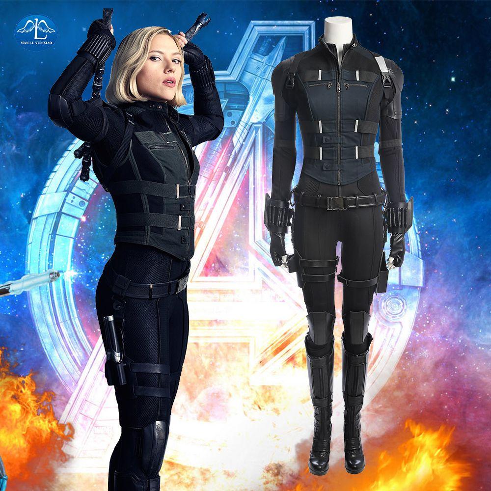 2018 Avengers Infinity War Black Widow Costume Natasha Romanoff Cosplay Costume Carnaval Halloween Costumes For Women Full Set