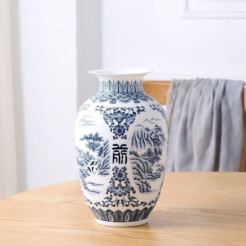Jingdezhen Vase en céramique rétro-ancien paysage muet bleu et blanc porcelaine fleur Arrangement petit sec fleur Vase porcelaine