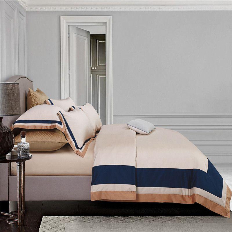 2018 hotel bedding set king size stitching color duvet cover bed sheet set 4pcs multicolor pima cotton urban stripes bedclothes
