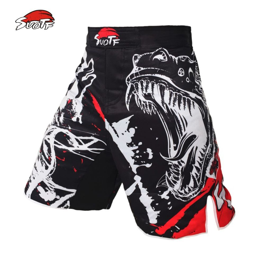 SUOTF black ink style <font><b>domineering</b></font> screaming MMA fitness breathable shorts fight boxing Tiger Muay Thai cheap mma shorts boxeo