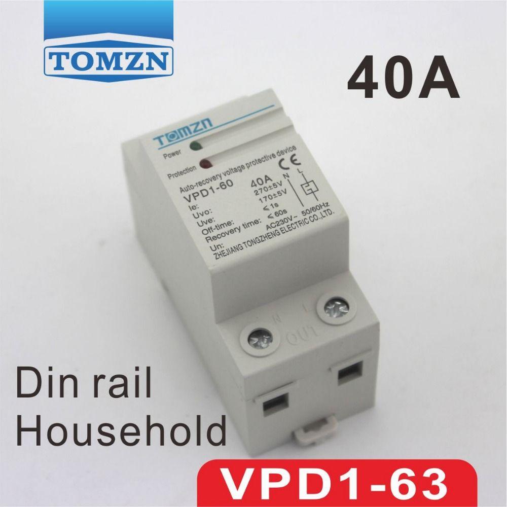 40A 230 V din-schiene automatische wiederherstellung verbinden überspannung und unter spannungsschutzgerät schutzfolie schutz relais