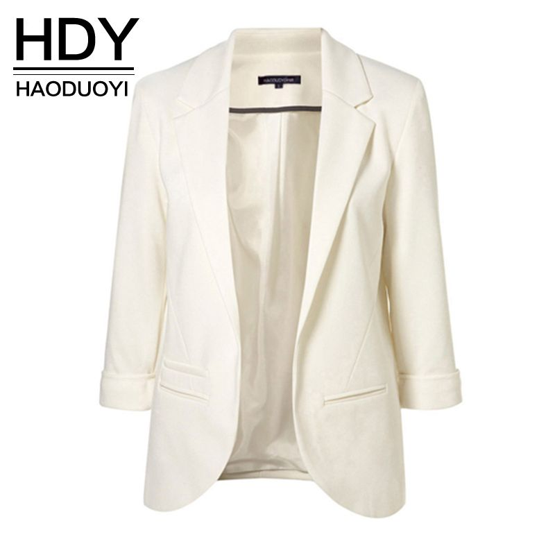 HDY Haoduoyi 2018 Spring Slim Fit Blazer Women Formal Jackets Office Work Open Front Notched Blazer <font><b>Black</b></font> Ladies Blazer