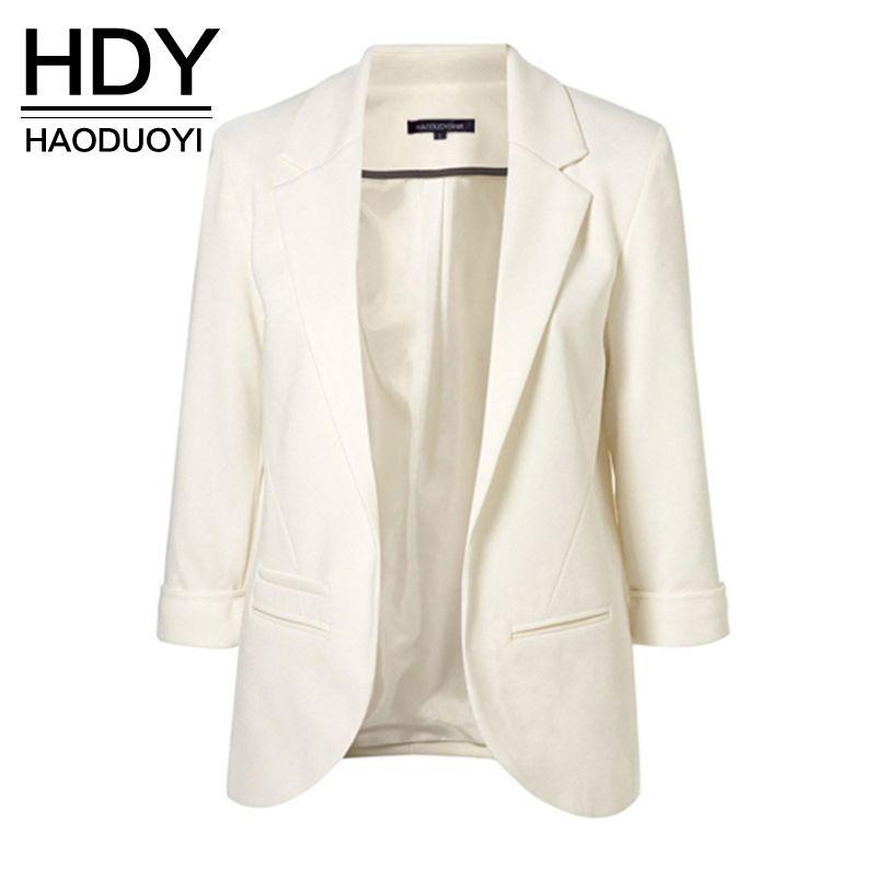 HDY Haoduoyi 2018 Spring Slim Fit Blazer Women Formal Jackets Office Work Open <font><b>Front</b></font> Notched Blazer Black Ladies Blazer