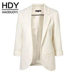 HDY Haoduoyi 2018 primavera Slim Fit Blazer mujeres chaquetas Formal trabajo de oficina frente abierto con muesca Blazer negro señoras chaqueta