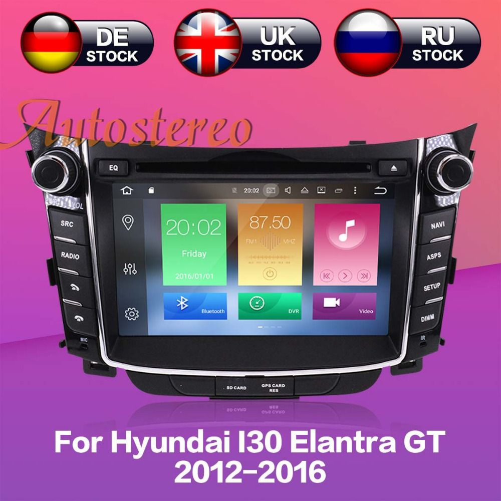 Octa Android8 4GB RAM Car DVD player GPS Navigation Headunit For Hyundai I30 Elantra GT 2012 2013 2014 2015 2016 Auto multimedia