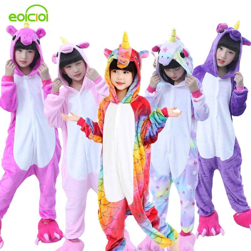 Flanelle hiver Pegasus de noël pyjamas licorne rose pyjamas pour les filles de bande dessinée animaux Capuche nuit onesie Garçon pyjamas enfants