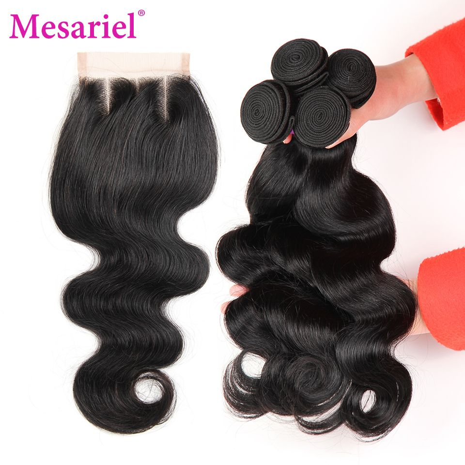 Mesariel Brazilian Body Wave 3 Bundles Human Hair Weave With Three Part Lace Closure Natural Color Non remy Hair Free Shipping