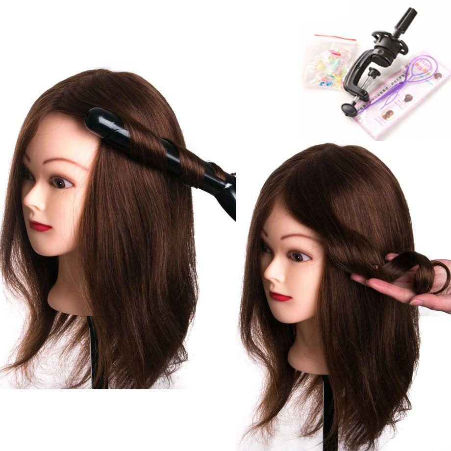 100% echte menschliche haar kopf puppen für friseure 16 ''braun ausbildung kopf professionelle Mannequin mit kleine clamp, kann gekräuselt werden