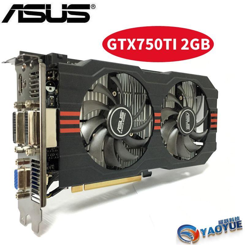 Asus GTX-750TI-OC-2GB GTX750TI GTX 750TI 2g D5 DDR5 128 Peu PC De Bureau Cartes Graphiques PCI Express 3.0 ordinateur Vidéo carte HDMI