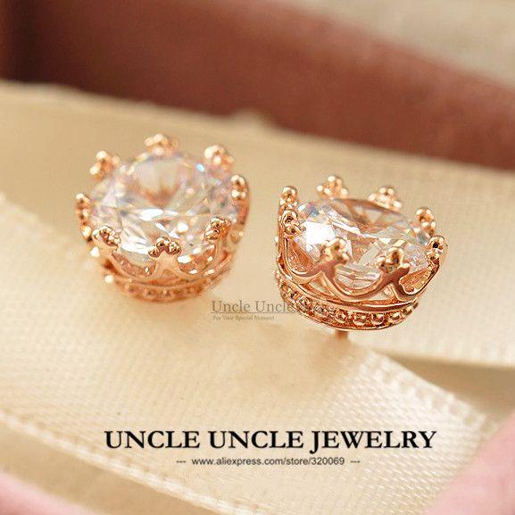 Classique Couronne Style Boucles D'oreilles Or Rose Couleur Haute Qualité Zircone Fiches Rondes De Luxe Femme Dames Boucle D'oreille En Gros
