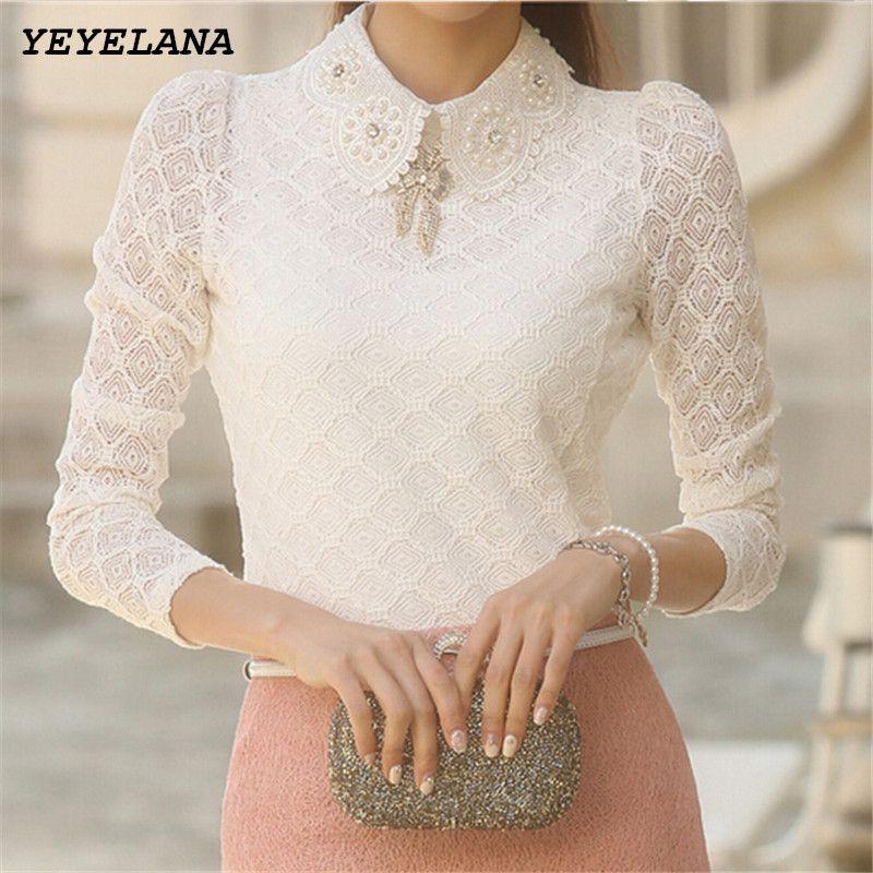 YEYELANA Women Lace Blouses 2018 Spring Summer New <font><b>Elegant</b></font> Femininas Long Sleeve chiffon Blouse Korean Style Women Shirt A001