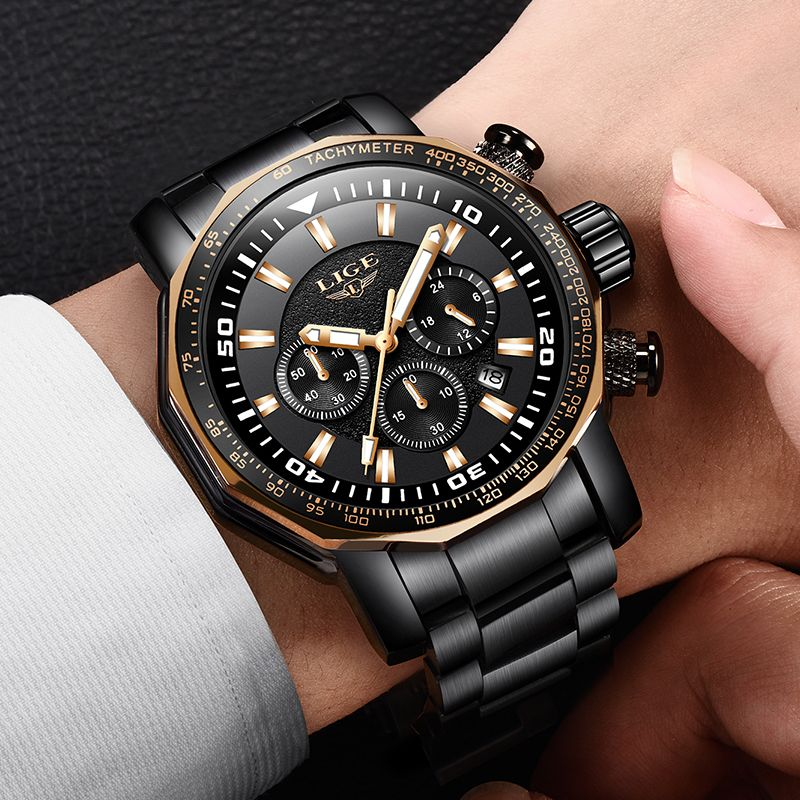 LIGE 2018 Fashion Men Watch Luxury Brand Military Style Quartz Large Dial Watches Mens sport waterproof clock Relogio Masculino
