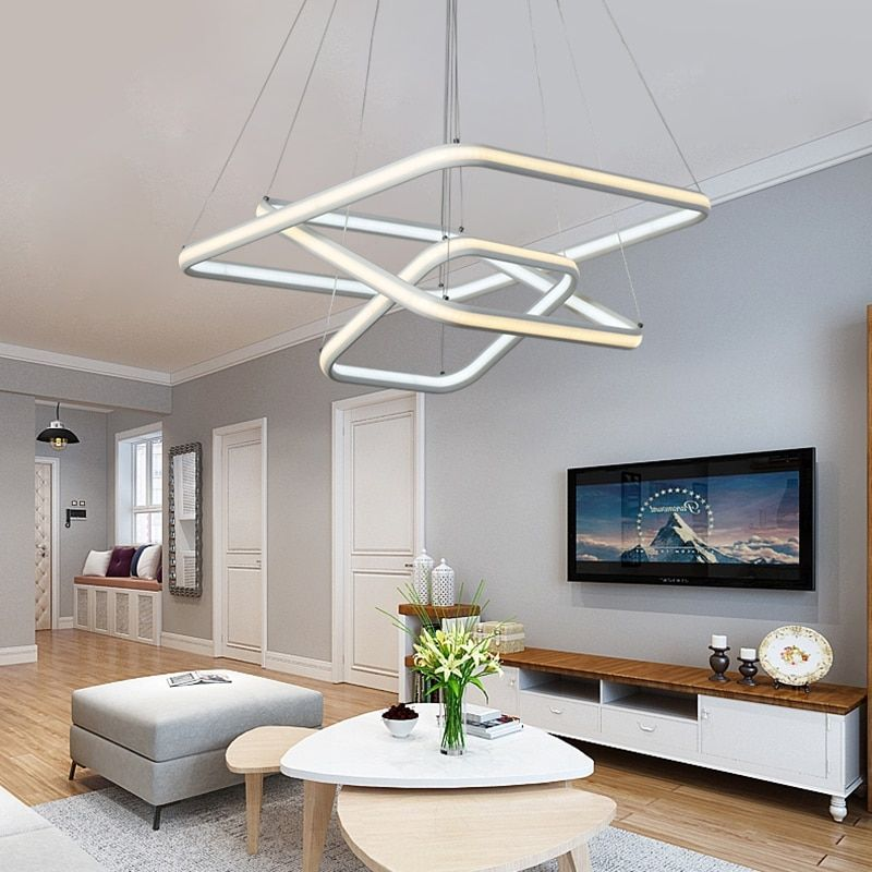 NEO Gleam Square High Brightness Double Glow Modern Led Chandeliers For Dining Kitchen Room Aluminum White Hanging Chandelier