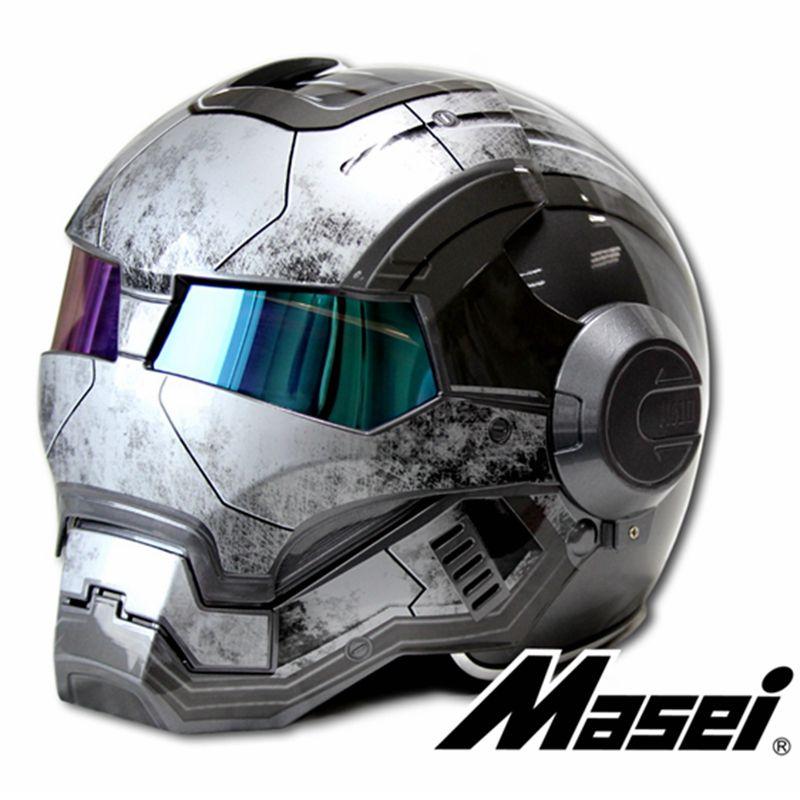NEW Gray MASEI IRONMAN Iron Man helmet motorcycle helmet retro half helmet open face helmet 610 ABS casque motocross