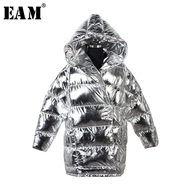 [EAM] 2018 New Autumn Winter Hooded Long Sleeve Black Loose Metal Color Loose Long Warm Cotton-padded Coat Women Fashion JI436