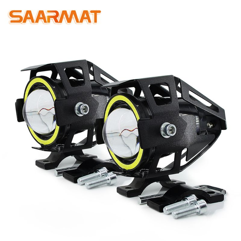2x 125W U7 Store Motorcycle Angel Eyes Headlight DRL spotlights auxiliary <font><b>bright</b></font> LED bicycle lamp accessories car work Fog light