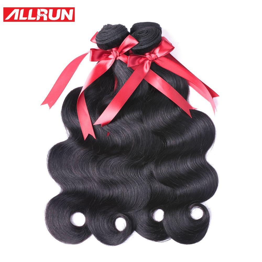Allrun malaisie corps vague cheveux armure paquets 100% cheveux humains paquets naturel non remy Extensions de cheveux 3 ou 4 paquets offres