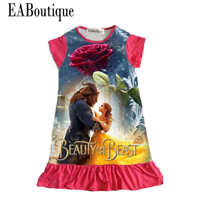 Eaboutique хлопчатобумажная ткань девушки платье мультфильм принцесса моана троллей двухместный отпечатано оборками стиль детская одежда для ...