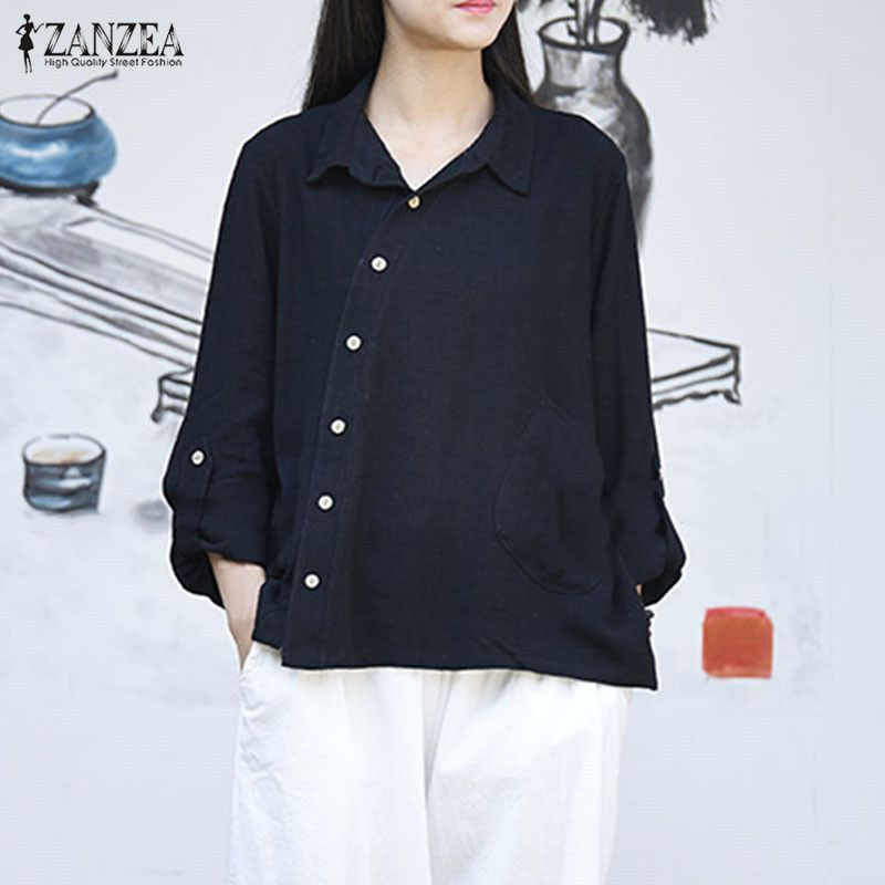 ZANZEA Oversized Autumn Cotton Linen Bottons <font><b>Down</b></font> Long Sleeve Solid Top Elegant Women Turn-<font><b>Down</b></font> Collar Blouse Black Baggy Shirt
