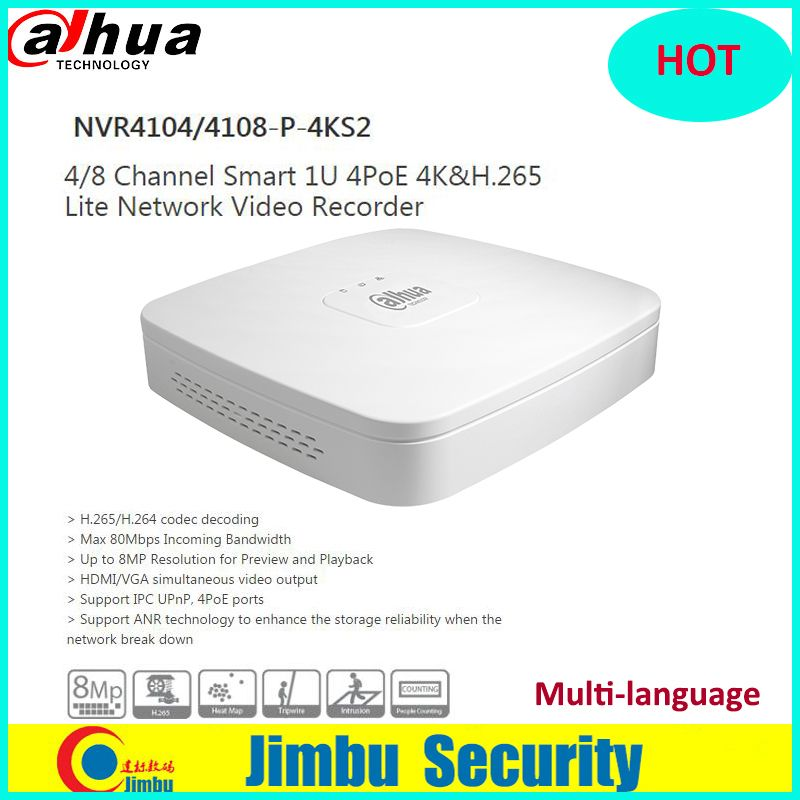 Dahua NVR 4K H.265 Video Recorder NVR4104-P-4KS2 NVR4108-P-4KS2 4Ch 8Ch 4 PoE Ports Network Up to 8MP Resolution metal body