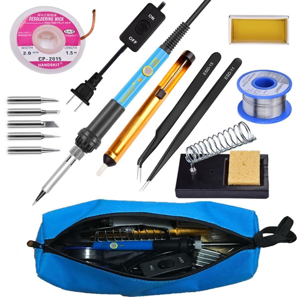 60w 110V 220v Adjustable Temperature soldering iron  Kit With ON/Off 5 Tips Desoldering Pump  wick SODLER HOLDER  twezzer bag