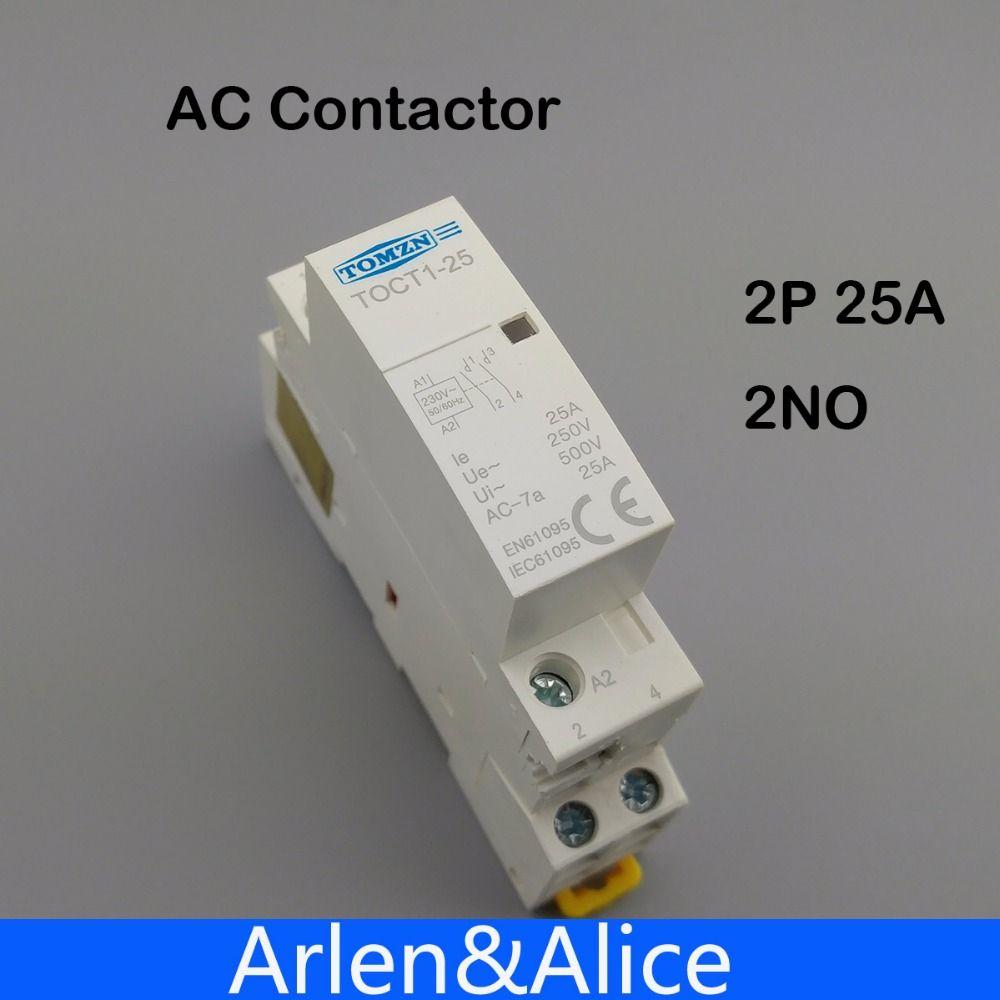 Contacteur modulaire ca 2NO 2NC ou 1NO 1NC TOCT1 2 P 25A 220 V/230 V 50/60 HZ