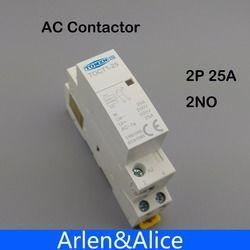 TOCT1 2 P 25A 220 В/230 В 50/60 Гц din-рейку бытовой AC модульная контактор 2NO