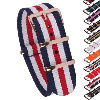 Buy 2 Get 10% OFF) Rose Gold Buckle 18/20/22mm Stripe Cambo Solid Watch Army Military nato fabric Nylon watchbands Strap Bands