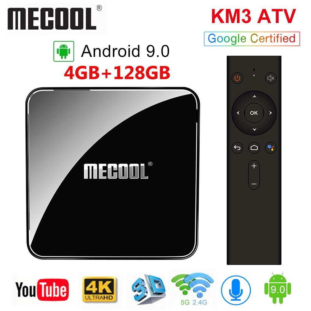 MECOOL KM3 ATV Androidtv Google Certified Android 9.0 TV Box 4GB RAM 64GB Amlogic S905X2 4K Dual Wifi BT4.0 Set Top Box KM9 Pro