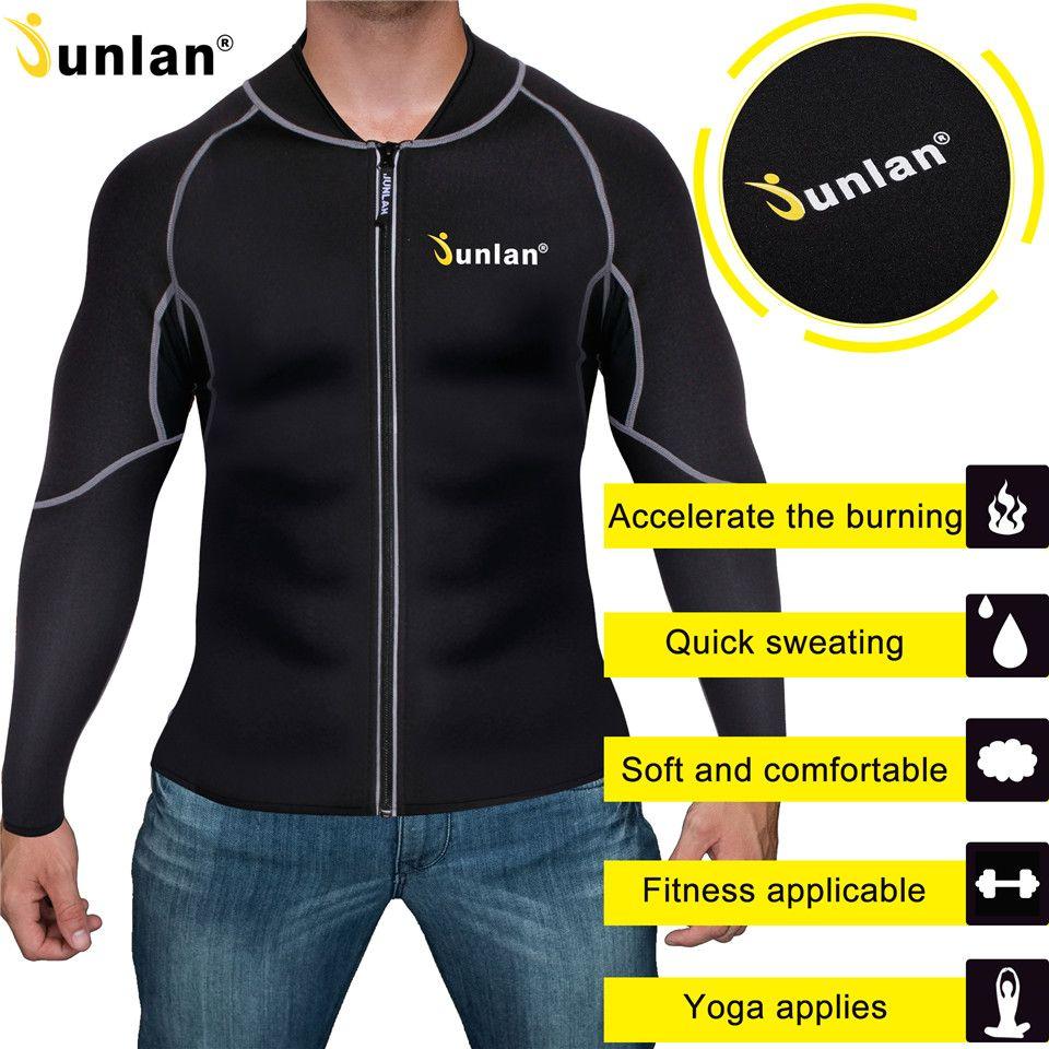 Junlan Männer Schlanke Taille Neopren Body Workout Zipper Tops Langen Ärmeln Reduzierung Shapewear Fitness Bauch Shaper Body Control